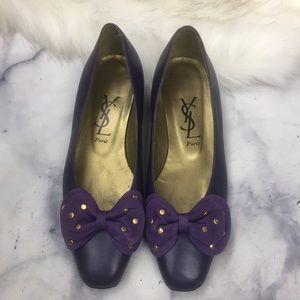 YSL Paris vintage purple bow flats